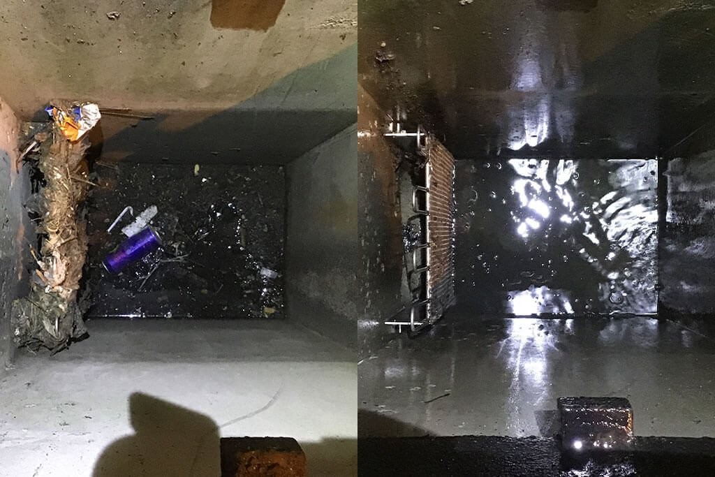 Stormwater drain before and after